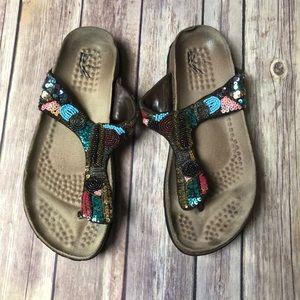 White Mountain Beaded Blue Slip On Sandals Strap 7